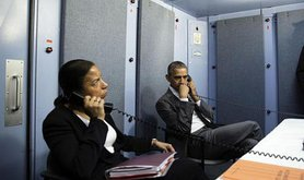 President Barack Obama and National Security Advisor Susan E. Rice on phone with Homeland Security Advisor Lisa Monaco