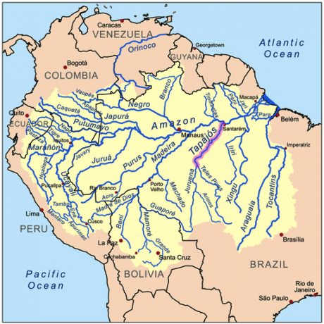 Tapajos River highlighted. Wikicommons/Kmusser. Some rights reserved.