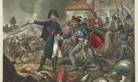 Wellington and Blucher meet during Battle of Waterloo, 1815.