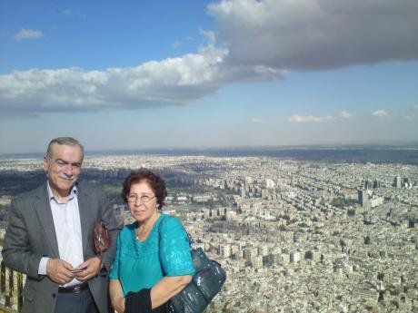 Fadwa Mahmoud and Abdulaziz Al Khayer looking over Damascus. Photo courtesy of Fadwa Mahmoud. All rights reserved.