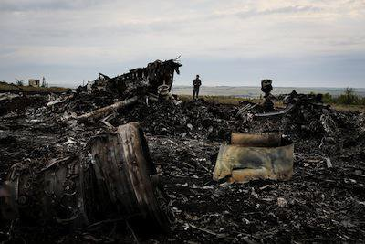 Charred fuselage of MH17. Demotix/Petr Shelmovsky. All rights reserved.