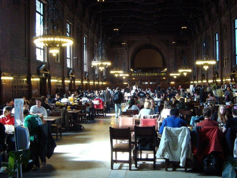 Spacious old dining hall.