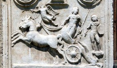Austrian tombstone showing Achilles with the dead Hector.