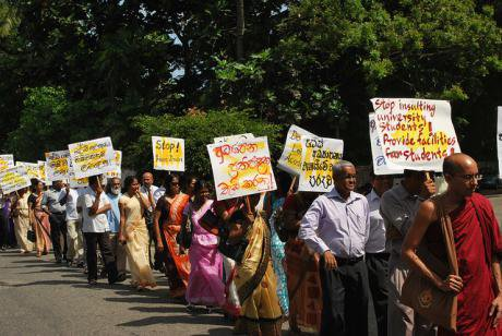 Academics at a protest in Sri Lanka, 2011.