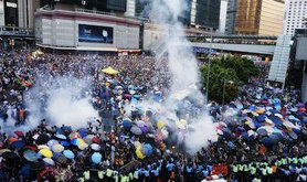 Hong Kong protesters face tear gas
