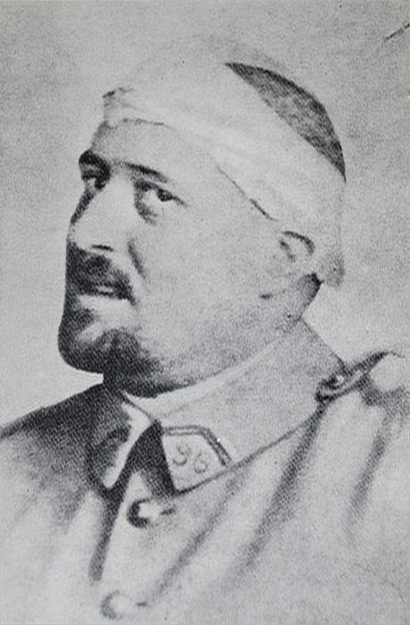 Guillaume Apollinaire, soldier, in spring 1916 after his shrapnel wound to the temple.