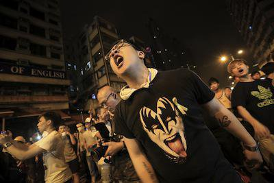 Protesters in Hong Kong