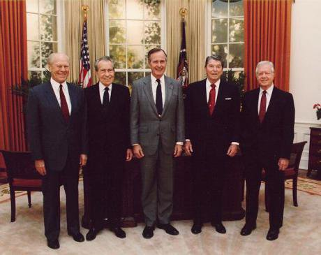 US Presidents Ford, NIxon, Bush, Reagan, Carter,1991.Wikicommons.