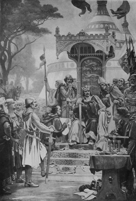 King John Granting Magna Carta from the fresco in the Royal Exchange (1900).