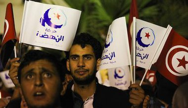 Ennahda leader concedes defeat in front of supporters in Tunisia. Demotix/Chedly Ben Ibrahim. All rights reserved.