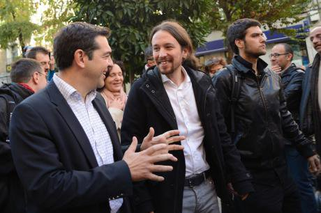 Iglesias and Tsipras, Madrid 2014.