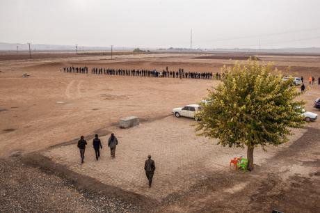 Syrian Kurdish refugees protest against ISIS in Suruc, November 2014.