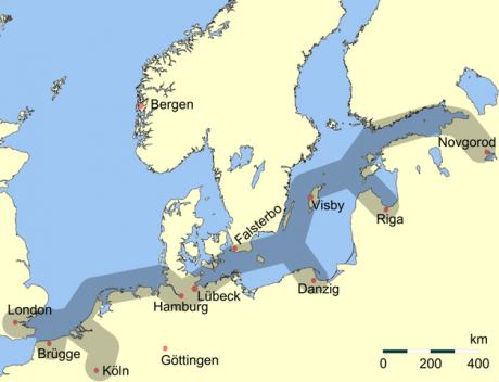 Main C13th trading routes of the Hanseatic League.