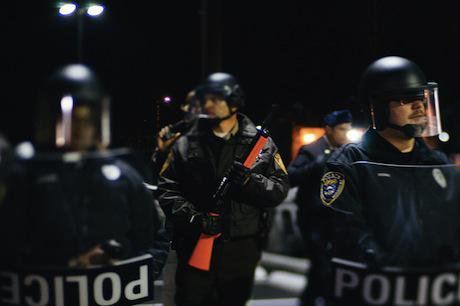 Police outside Ferguson Police Department, November 2014. Demotix/Bryan Sutter. All rights reserved.