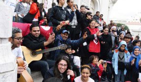 Tunisians celebrating their independence