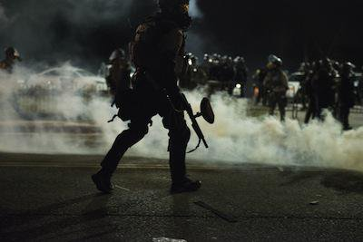Riot police, Ferguson. Demotix/Justin L. Stewart. All rights reserved.