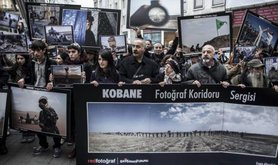 Kobane 'photo exhibition' shown in Istanbul, November 2014.