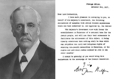 Portrait of Lord Balfour, along with his famous declaration