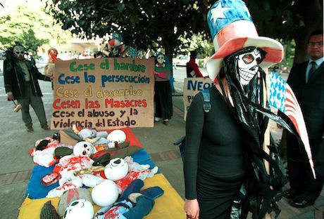 Protest against Plan Colombia, 2001, Bogota. Getty Images / Carlos Villalon. All rights reserved.
