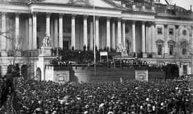Participants and large crowd in front of the Capitol at Abraham Lincoln's inauguration in 1861