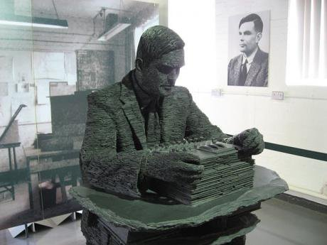 A statue of Alan Turing at Bletchley Park
