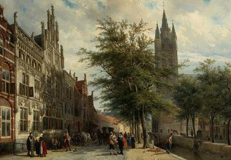 The Gemeenlandshuis ( Water Boards)  and the Old Church, Delft, Summer, 1877.