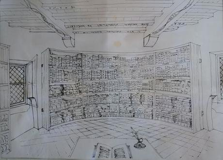 Reconstruction of Montaigne's library in the tower of Montaigne's castle..