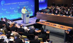 Narendra Modi delivering speech at UN Peacekeeping Summit, New York, September, 2015.