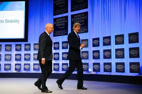 John Kerry walks offstage after keynote speech at World Economic Forum, 2014.