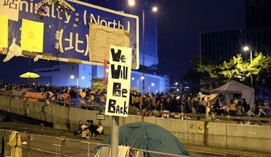 """We will be back"" slogan at Admiralty. Demotix/Jason Langley. All rights reserved."