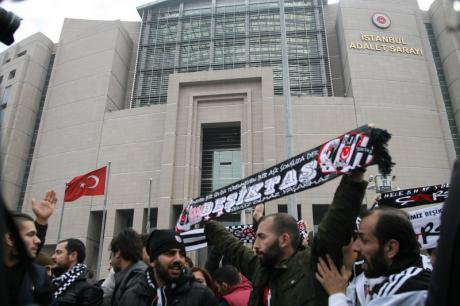 Istanbul Palace of Justice protest at football fans accused of coup plot, 2014.