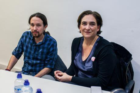 Pablo Iglesias meets Ada Colau in Guanyem HQ, December 2014.