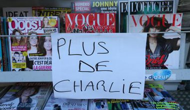 News kiosk in Nice where first edition of Charlie Hebdo has sold out.