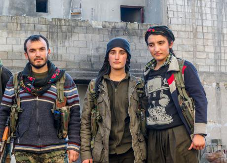 Kurdish YPG forces on frontline, December 2014.