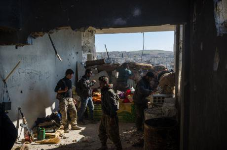 Front line in Kobane, December 2014.