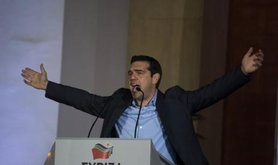Alexis Tsipras addresses the Greek people after the elections, January, 2015.