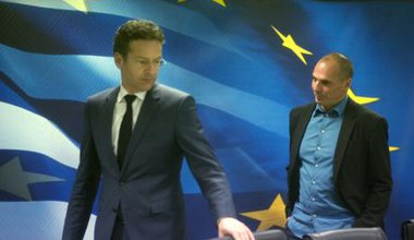 Eurogroup president Dijsselbloem meets Greece's finance minister,Jan.'15.