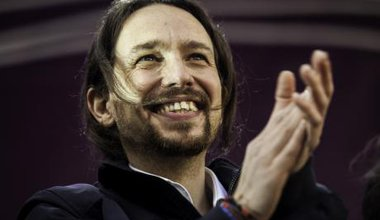 Podemos rallies on January 31, 2015, for political change in Spain.