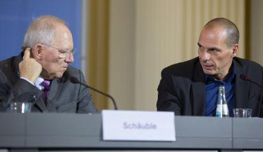 Varoufakis and Schauble at renegotiations of Greek debt, Berlin 2015.