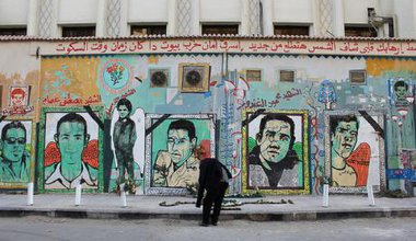Mohamed Mahmoud St. mural dedicated to ultras martyrs, 2012.