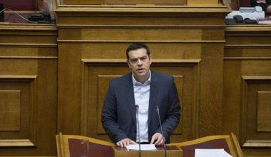 Alexis Tsipras addressing the Greek parliament, February 2015.