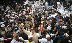 Celebration on the streets as AAP wins in Delhi, February, 2015.