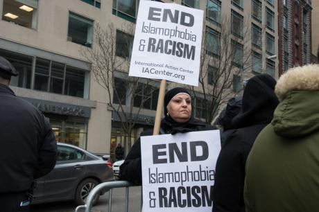NYC protest against anti-Muslim bias after North Carolina shootings.