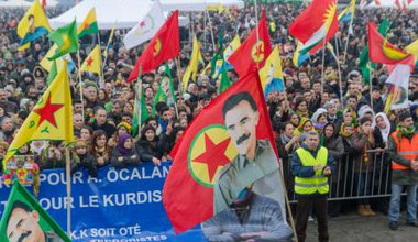 Kurds demonstrate in Strasbourg calling for Ocalan's release, February 2015.