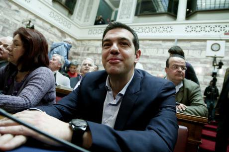 Greek PM Alexis Tsipras speaks at Syriza group meeting, Athens,Feb.,2015.