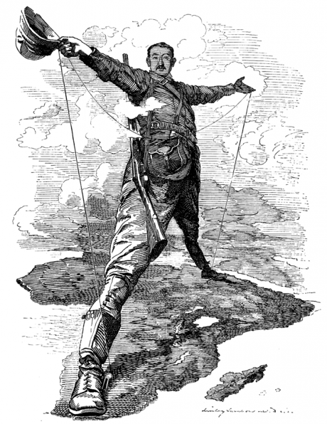 The Rhodes colossus - Punch cartoon caricature of Cecil Rhodes by Edward Linley Sambourne, 1892.