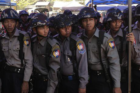 Myanmar police stage crackdown. Thet Htoo/Demotix. All rights reserved.