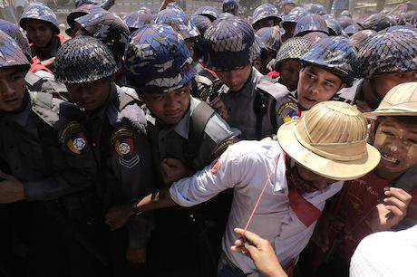 Myanmar students protest. Thet Htoo/Demotix. All rights reserved.