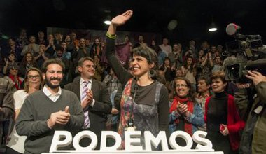 Teresa Rodriguez celebrates Podemos coming third in Andalusia.