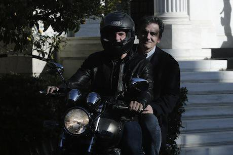 Yanis Varoufakis and Euclid Tsakalotos on motorcycle. Demotix/Panayiotis Tzamaros. All rights reserved.